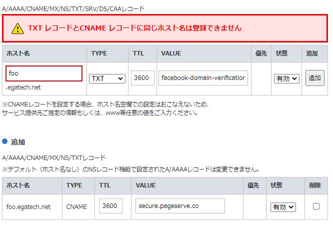 お名前ドットコムのDNSサーバーではTXTとCNAMEを同時に登録できない